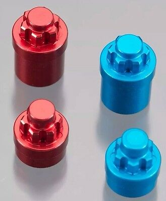 AXIAL SCX10 RED Serrated Wheel Nuts Simulated HD Hubs 4mm Wraith Scale Crawler