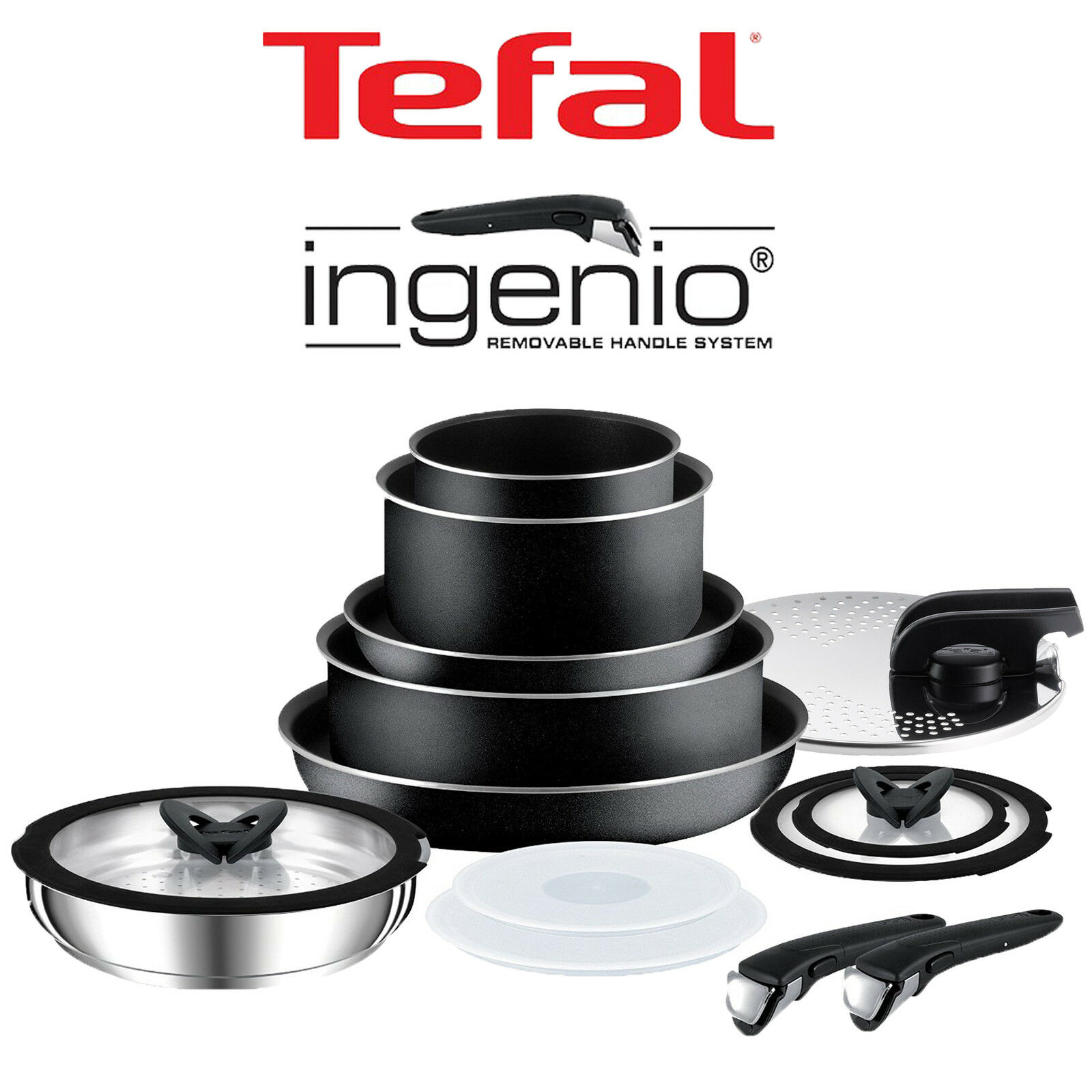 Tefal Ingenio Essential Frying Pot Pan Saucepan Wok Lid Cookwares
