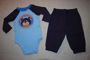 Baby-Boys-Outfit-NAVY-amp-BLUE-L-S-SHIRT-Bodysuit-CUTE-LITTLE-RASCAL-Pants-3-6-MO