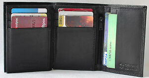 RFID-Security-lined-Full-Grain-Leather-Trifold-Wallet-Bargain-Price-11005