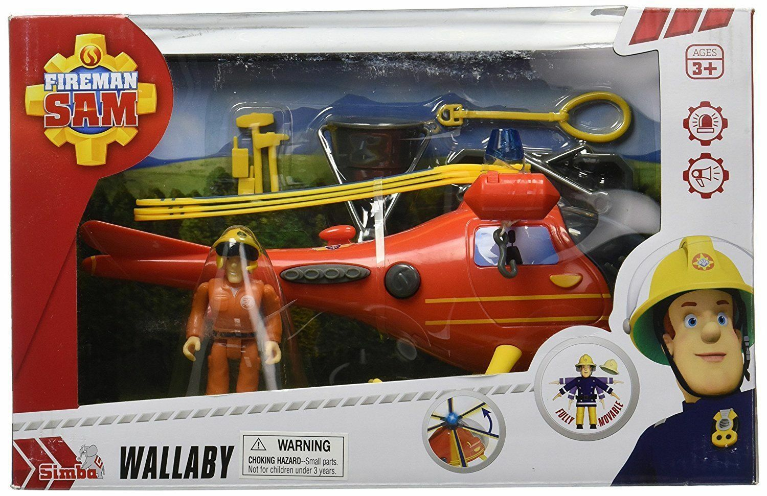 Fireman Sam Mountain Rescue Helicopter Wallaby Vehicle Big Giant with figure