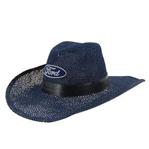 FORD Cowboy Hat Navy Mesh Blue Oval Logo Black Vinyl Band Christmas ... eb0c8687202