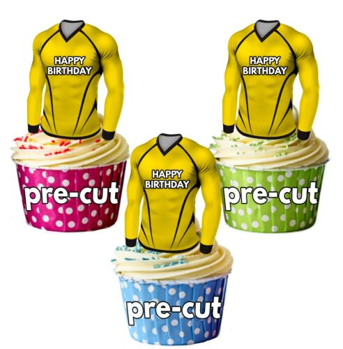 PRECUT Birthday Football Shirts Edible Cake Toppers Decorations Watford Colours