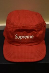 cca2e625f24 Image is loading Supreme-Hat-F-W-039-17-Red-Overdyed-Ripstop-
