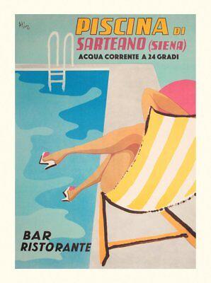 Piscina Familias San Sebastian Spain 1932 Vintage Style Travel Poster 24x32