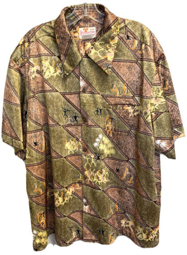50s Sears Pineapple Rayon Aloha Hawaiian Shirt Medium