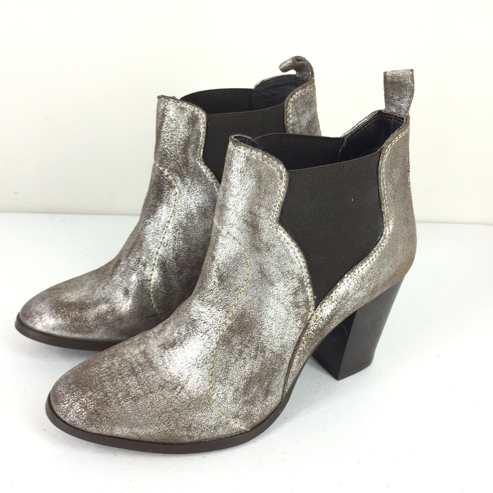 Seychelles Anthropologie 7 Ankle Boots Silver Metallic Brown Crackle EUC