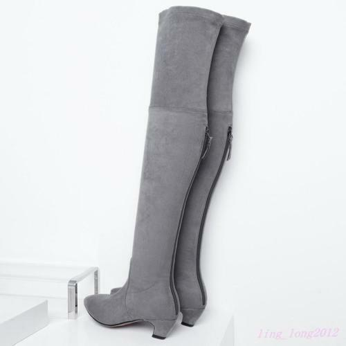 Chic Women Mid Kitten Heel Stretchy Thigh High Boot Knee Boot Pointy Toe Fashion