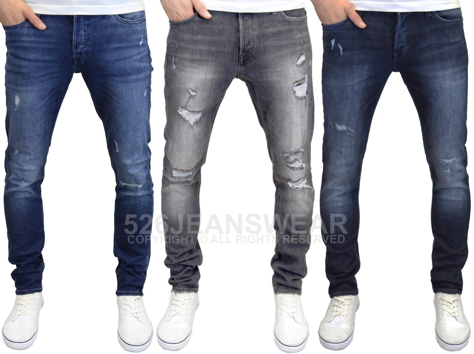 Jack /& Jones Glenn jeans pantaloni pants uomo effetto vissuto denim stretch slim fit