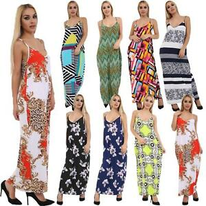 Ladies-Printed-Cami-Maxi-Fancy-Evening-Casual-Party-Summer-Dress-Top-Plus-Size