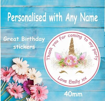 48 Personalised Party Bag Stickers Unicorn Sweet Bag Seals 40mm Labels