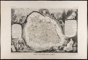 Bien Informé Carte Ancienne Département Du Puy De Dôme - 1854c - Levasseur, France Pour RéDuire Le Poids Corporel Et Prolonger La Vie