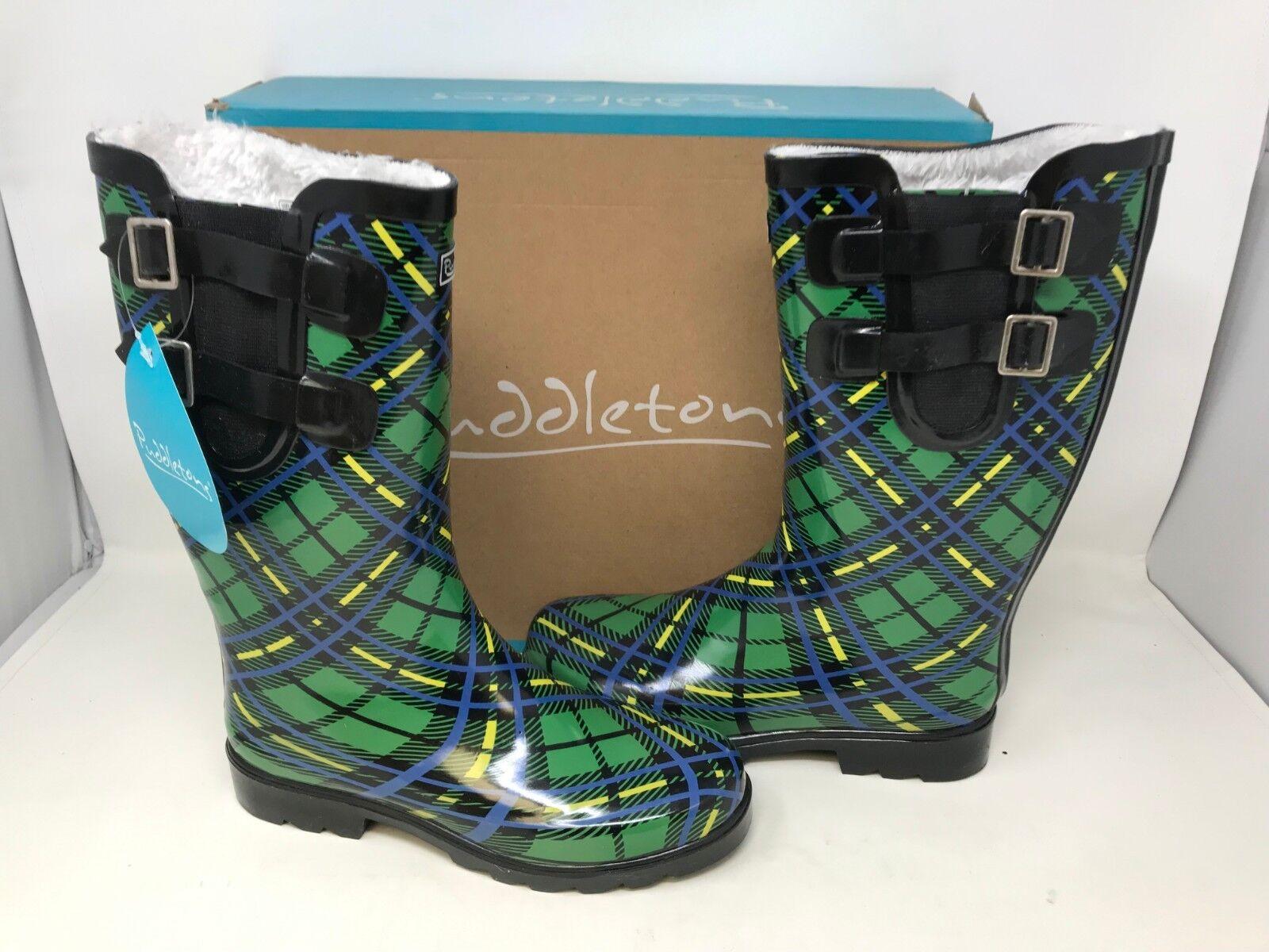 NEW  Puddletons Puddletons Puddletons Women's Cozy Classic Double Strap Rain Boots Grn Size 7 164A tz 6f9de8