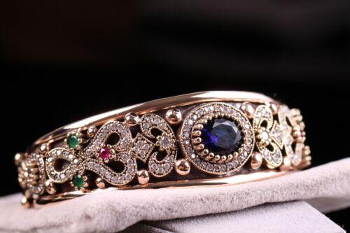 Turkish Handmade Jewelry Sterling Silver 925 Sapphire Blue Bracelet Bangle Cuff8