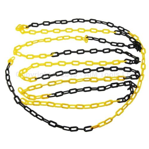 990938 Black and yellow barrier Plastic Chain 6mm 6meters