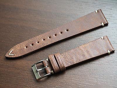 20mm Vintage look handmade genuine Italian leather watch strap, band