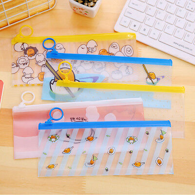 Cute Cartoon Pencil Pen Transparent Case Cosmetic Pouch Brush Holder  Box Bag