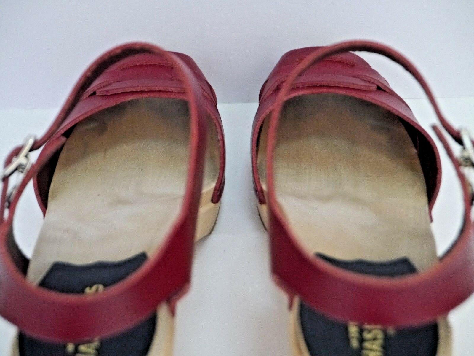 SWEDISH HASBEENS rosso leather leather leather light wood peep-toe heeled clog sandals Dimensione 37 fcc7e2