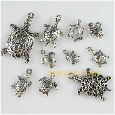 20Pcs Antiqued Silver Tone DIY/Tortoise Mixed Charms Pendants F184