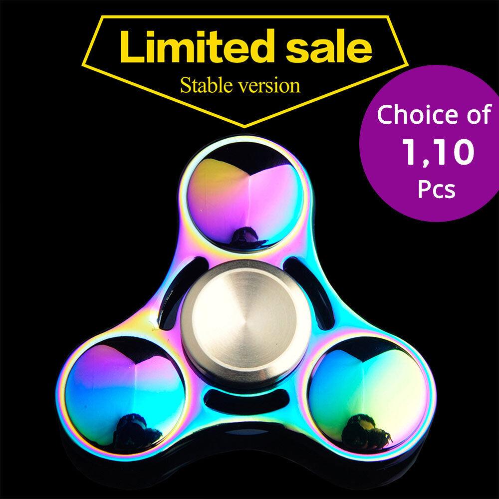 la mejor selección de Arco Iris De Aluminio Metal Tri Mano Dedo Spinner intranquilo intranquilo intranquilo Escritorio de-estrés Relax Juguete  salida de fábrica