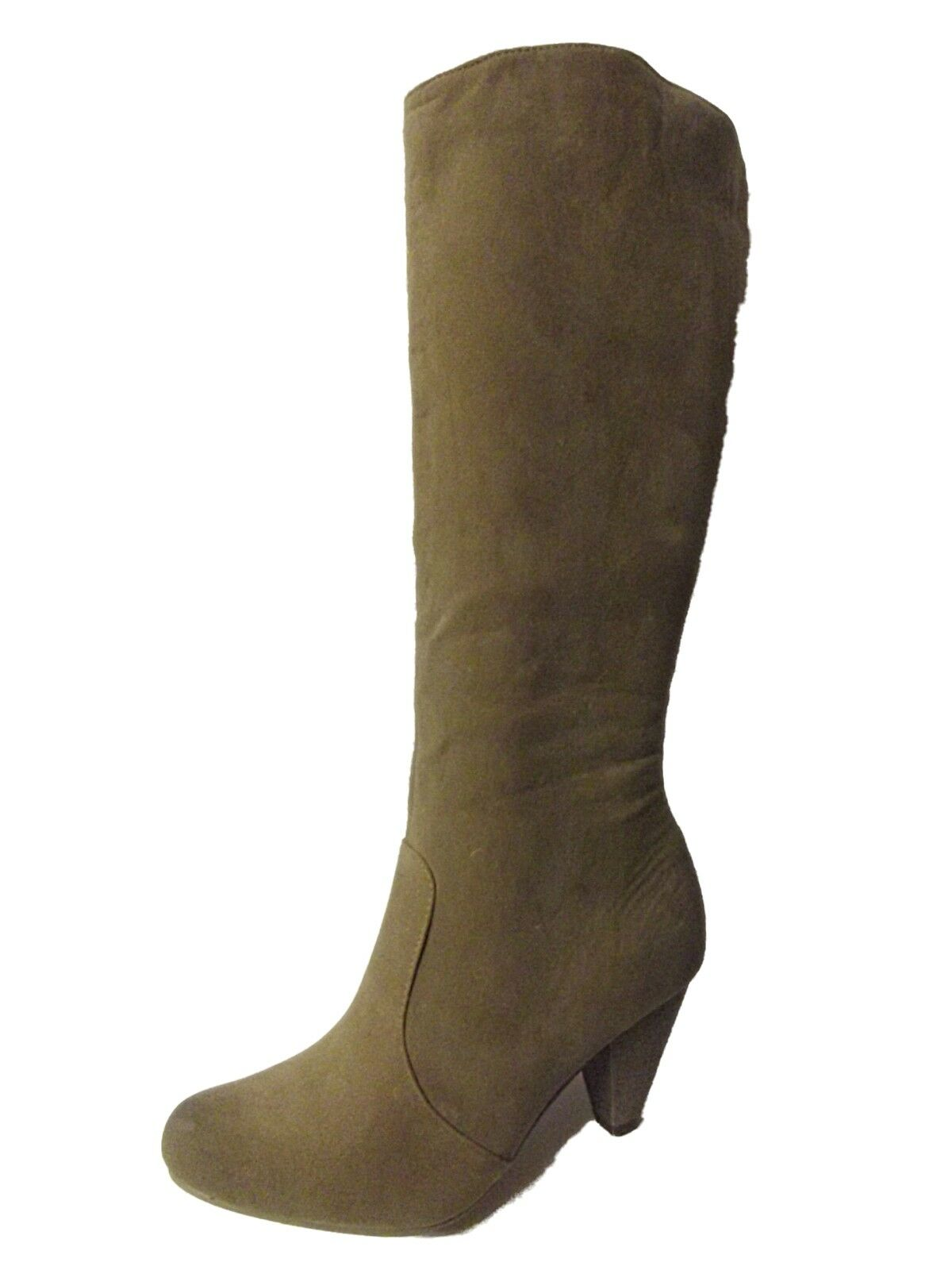 NEW LADIES EX STORE BEIGE FAUX SUEDE HEELED KNEE HIGH TALL BOOTS SZ 8 9 10 TV TS