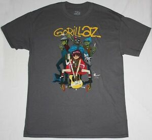 GORILLAZ-BAND-ALTERNATIVE-HIP-HOP-ROCK-BRIT-BAND-BLUR-NEW-GREY-CHARCOAL-T-SHIRT