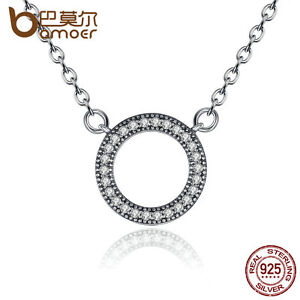 Bamoer-Sparkling-S925-Sterling-Silver-Round-Pendant-Necklace-Clear-CZ-For-Women