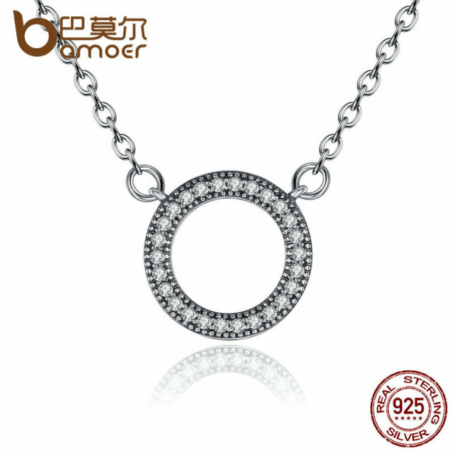 9c3e5244d21 Bamoer Sparkling S925 Sterling Silver Round Pendant Necklace Clear CZ For  Women