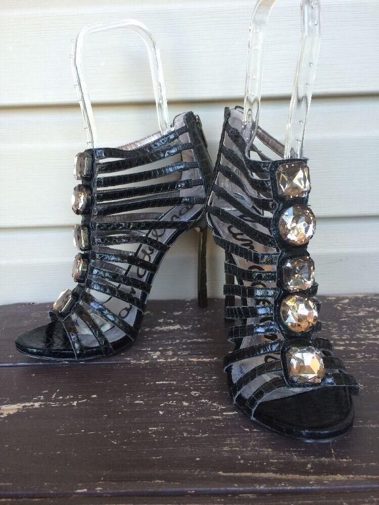 Sam Edelman Hampton Piel Piel Piel De Serpiente enjaulado Zapatos De Taco Cuero Negro Talla 8.5 Nuevo  170  precios ultra bajos
