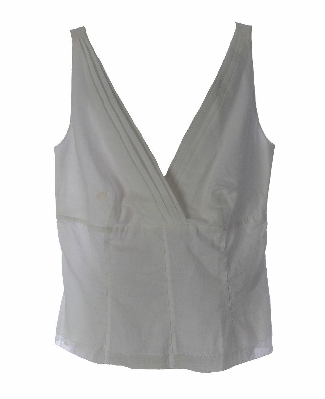 Gant Damen Weiß Plissiert Baumwolle Tank Top 458101 Eu 32