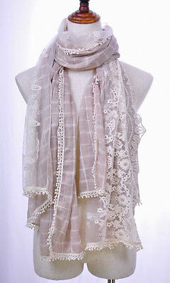 W48 Pink 100%Cotton Lady's Long Scarf Shawl Elegant Embroidery Floral Lace