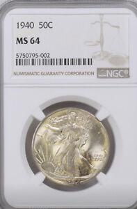 1940 P Walking Liberty Half Dollar NGC MS64