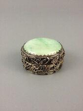 China Silver Sterling Silver And Jade Hinged Trinket Box