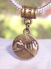 Pinky Swear Best Friends Hands Bronze Dangle Bead for European Charm Bracelet