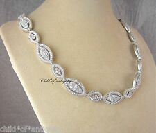 NADRI Swarovski Crystal PAVE Filigree WEDDING Bridal Leaf Eyes MARQUISE Necklace