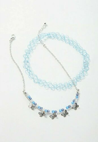 Details about  /Justice Girls Blue Butterfly Choker Set Necklace