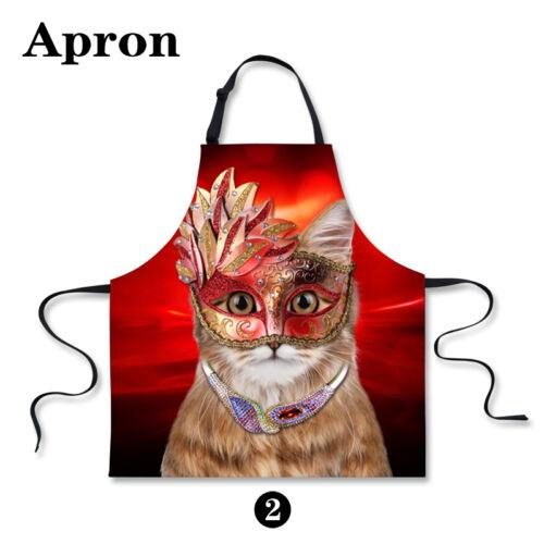 Mask Cat Print Women Fashion Aprons Cooking Kitchen Restaurant Bib Apron Dress