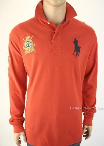 POLO RALPH LAUREN Mens Big Pony Custom Fit Logo Ruby Polo Shirt Long Sleeve NWT