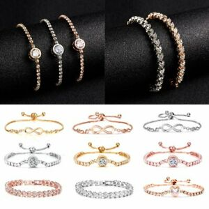 Fashion-Women-Adjustable-Chain-Bracelet-Rhinestone-Crystal-Cuff-Bangle-Jewellery