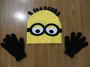 a72dd0cdb98403 NEW DESPICABLE ME 3 MINION KNIT BEANIE HAT AND GLOVES SET YOUTH ONE ...