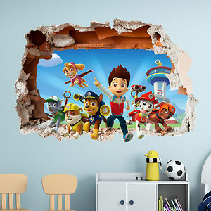 PAW PATROL WALL STICKER 3D BOYS GIRLS BEDROOM VINYL WALL ART DECAL ...