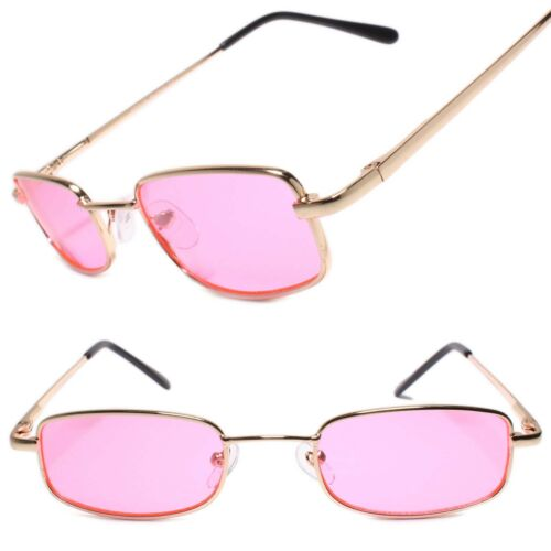 Classy Exotic Elegant Retro Style Rectangle Mens Sunglasses Gold Frame Pink Lens