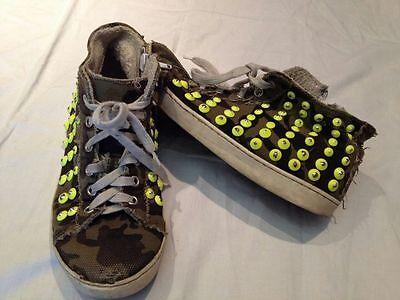 Sneakers Tipo Converse Alte Happines Shoes Verdi Militare borchie 34 Usate   eBay