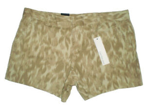 Calvin Klein Jeans Pale Green / Brown Stretch Chino Short Size 16 New $49.50