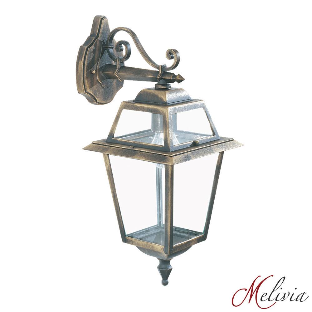 Lampada Muro Lampada da parete nero oro Vetro 1x60w candelabro LANTERNA CLASSICO