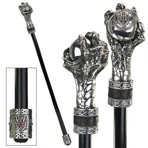 Gothic-Dragon-Claw-Clutching-Orb-Knob-Handle-Ebony-Metal-Cane-Walking-Stick-New