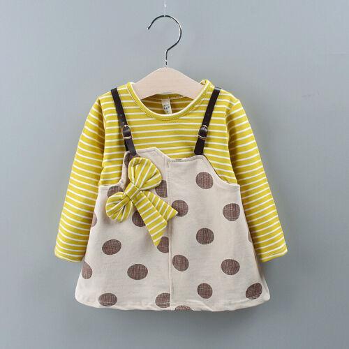 Autumn Baby Girls Clothes Dress Kids Girl Clothing Skirt Infant Bow Dot Dresses