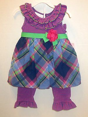 New Bonnie Jean Baby Girl Dress & Pants Set Outfit SZ 12 18 24 MO