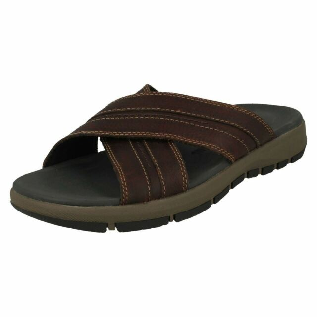 2102ddf5f6ad Mens Clarks Brixby Cross Leather Casual Slip on Mule Sandals UK 6 ...