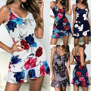 09f29c70ec17d Details about Summer Boho Women Semi-Backless Mini Bodycon A-line Dress  Straps Hem Beach Skirt